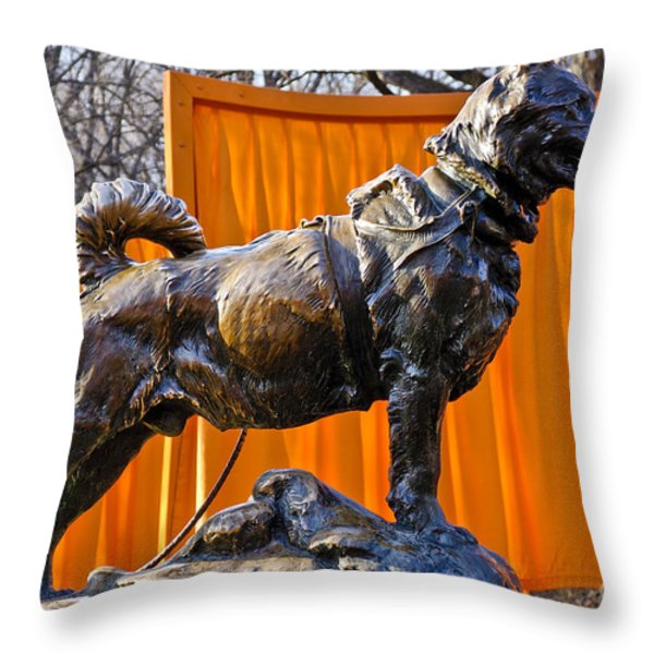 Statue of Balto in NYC Central Park Throw Pillow by Anthony Sacco