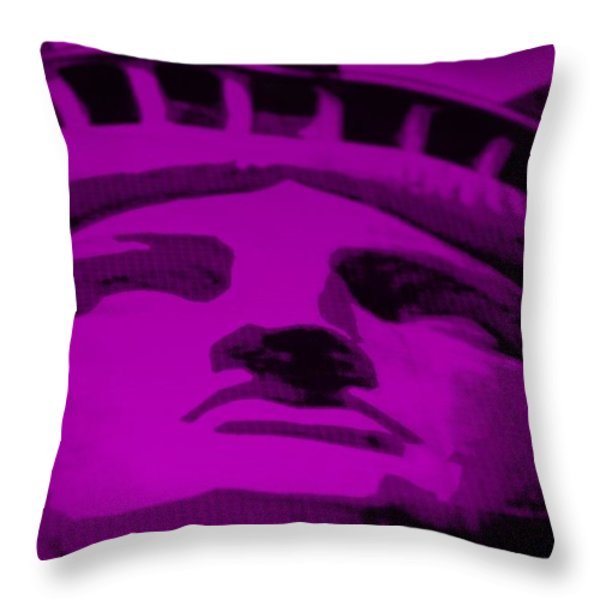 Statue Of Liberty In Purple Throw Pillow by Rob Hans
