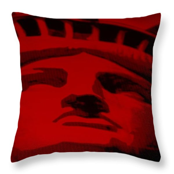 Statue Of Liberty In Red Throw Pillow by Rob Hans