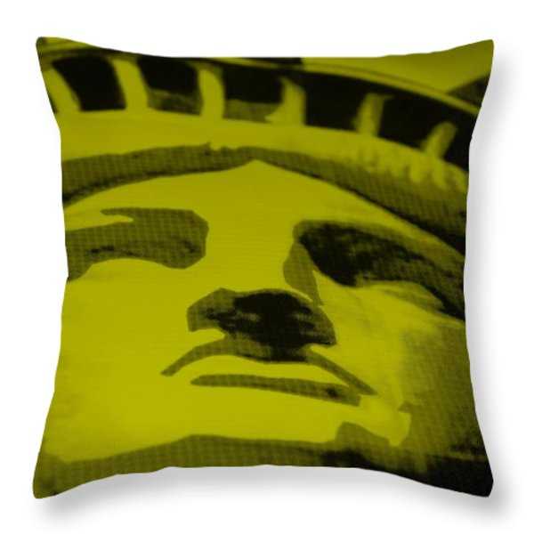 STATUE OF LIBERTY in YELLOW Throw Pillow by ROB HANS