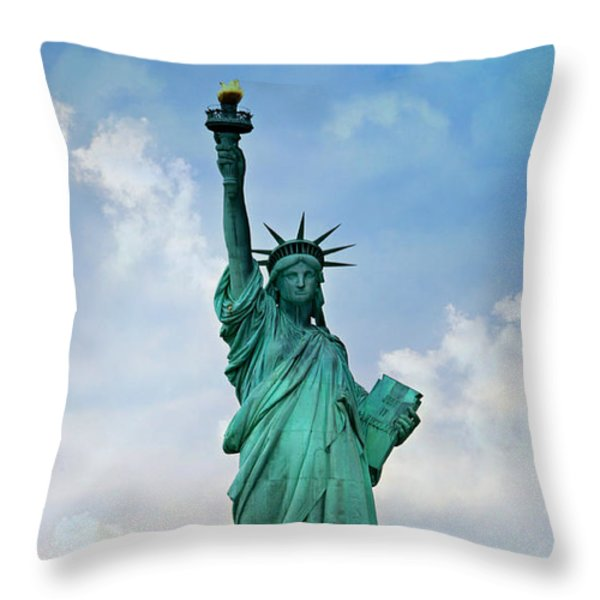 Statue Of Liberty Throw Pillow by Stephen Stookey