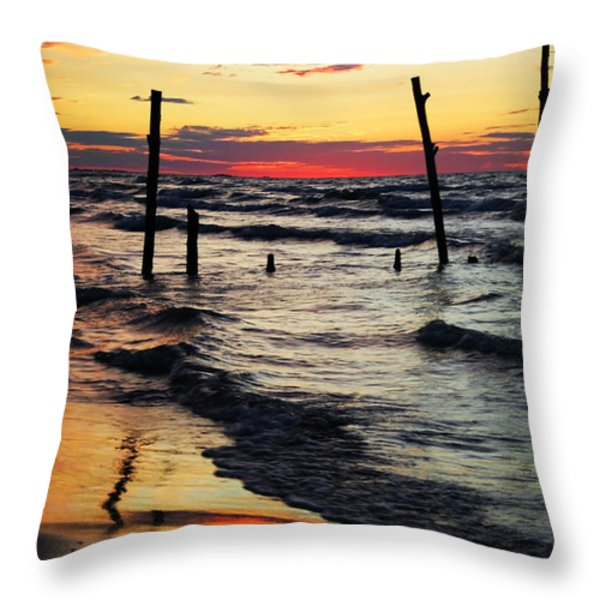 Stay Ashore Throw Pillow by Barbara McMahon