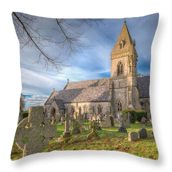 St.David at Pantasaph Throw Pillow by Adrian Evans