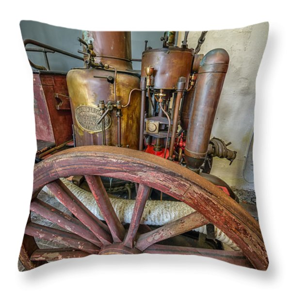 Steam Fire Engine Throw Pillow by Adrian Evans