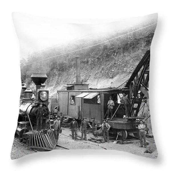STEAM LOCOMOTIVE and STEAM SHOVEL 1882 Throw Pillow by Daniel Hagerman