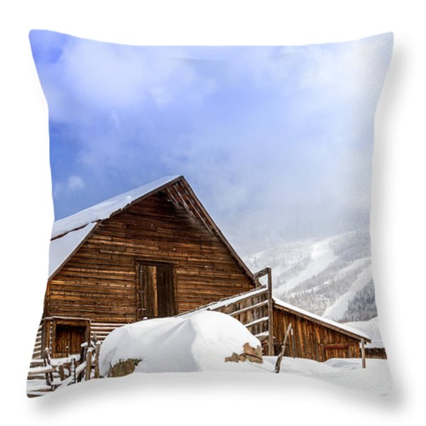 Steamboat Springs Barn And Ski Area Throw Pillow by Teri Virbickis