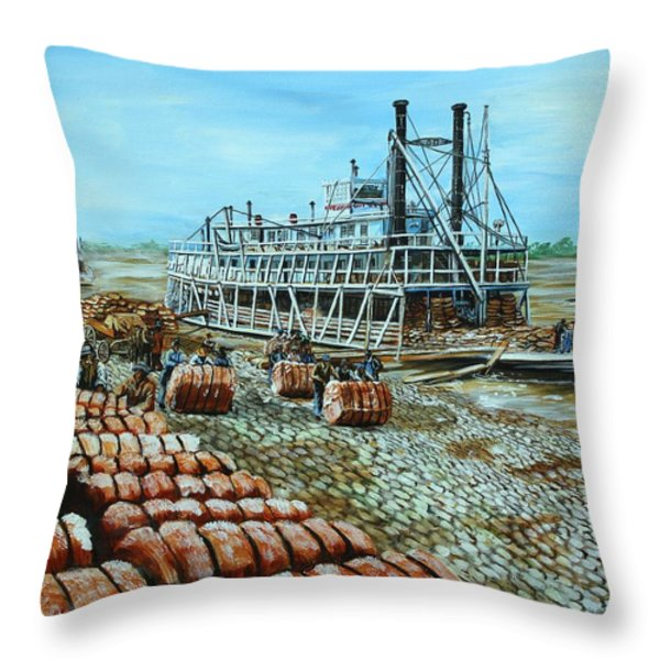 Steamboat Unloading Cotton In Memphis Throw Pillow by Karl Wagner