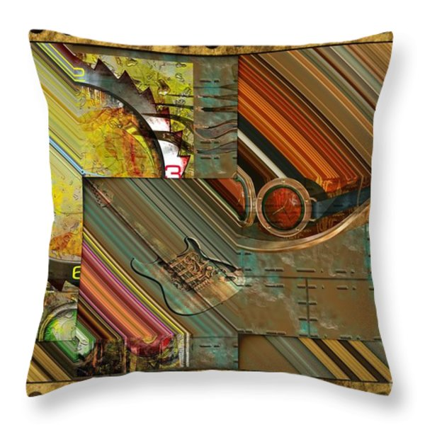 Steampunk Abstract Throw Pillow by Liane Wright