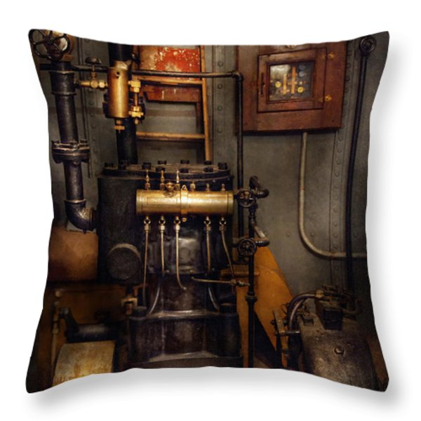 Steampunk - Back in the engine room Throw Pillow by Mike Savad