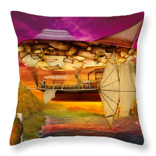 Steampunk - Blimp - Everlasting Wonder Throw Pillow by Mike Savad