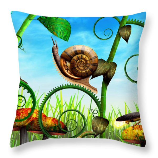 Steampunk - Bugs - Evolution Take Time Throw Pillow by Mike Savad