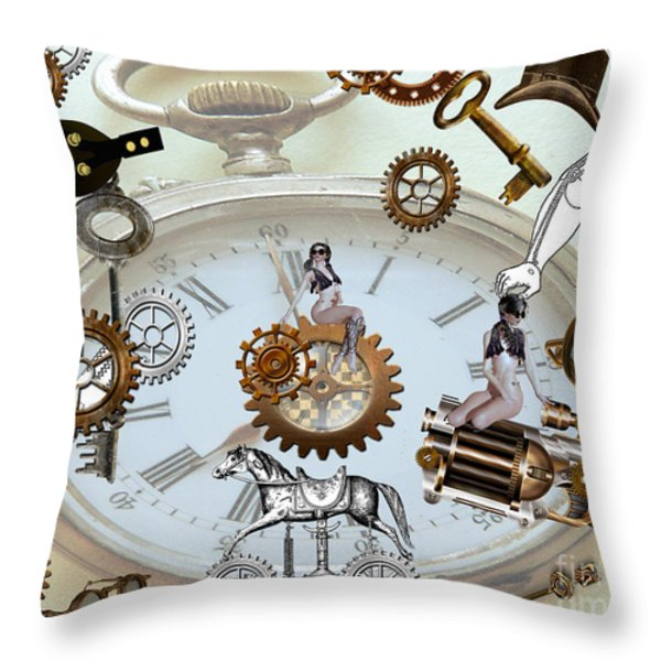Steampunk Throw Pillow by Cheryl Young