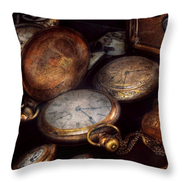 Steampunk - Clock - Time worn Throw Pillow by Mike Savad