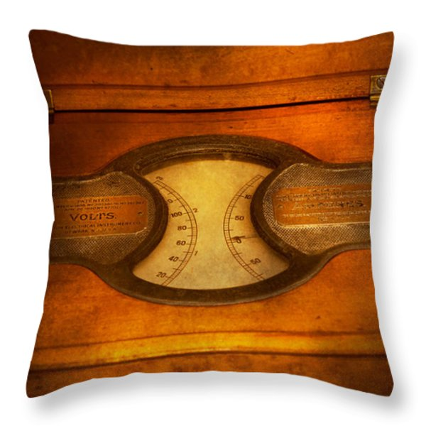 Steampunk - Electrician - The Portable Volt Meter Throw Pillow by Mike Savad