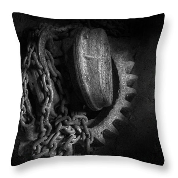 Steampunk - Gear - Hoist And Chain Throw Pillow by Mike Savad