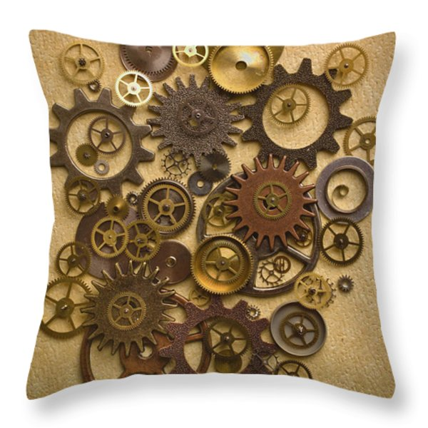 Steampunk Gears Throw Pillow by Diane Diederich