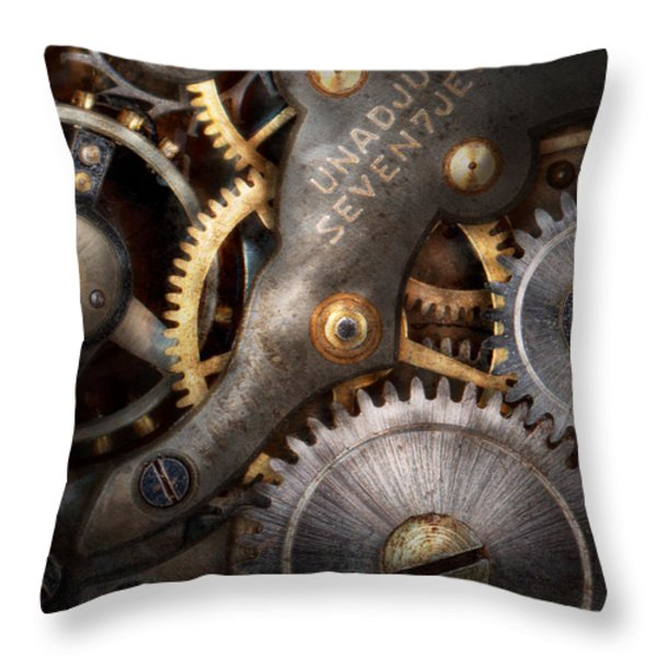 Steampunk - Gears - Horology Throw Pillow by Mike Savad