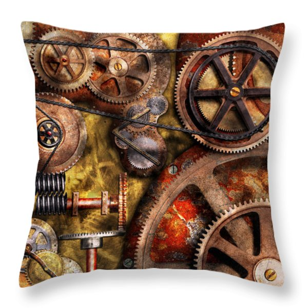 Steampunk - Gears - Inner Workings Throw Pillow by Mike Savad