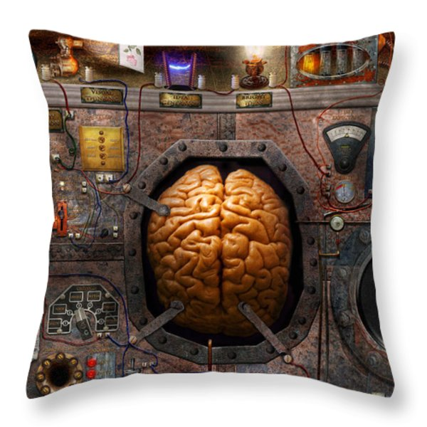 Steampunk - Information overload Throw Pillow by Mike Savad
