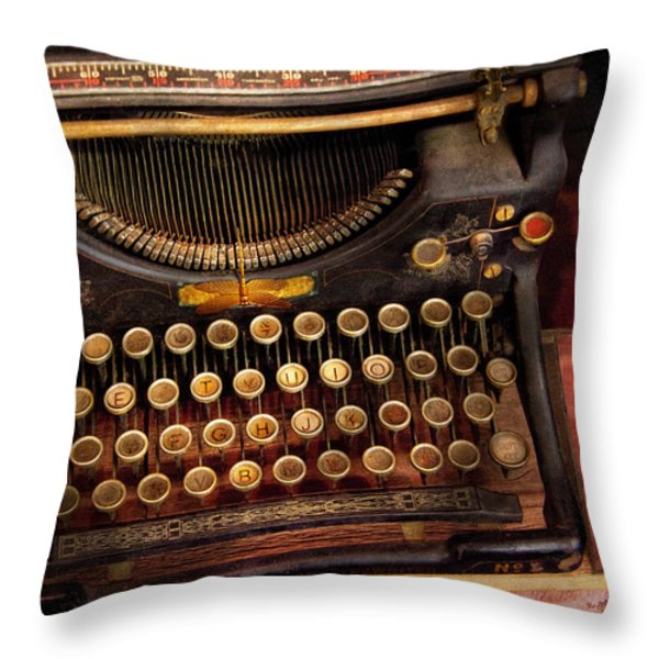 Steampunk - Just an ordinary typewriter  Throw Pillow by Mike Savad