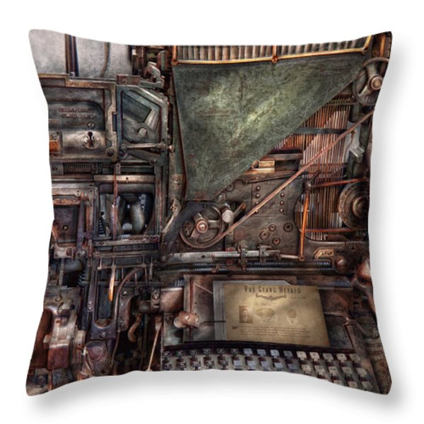 Steampunk - Machine - All the bells and whistles  Throw Pillow by Mike Savad