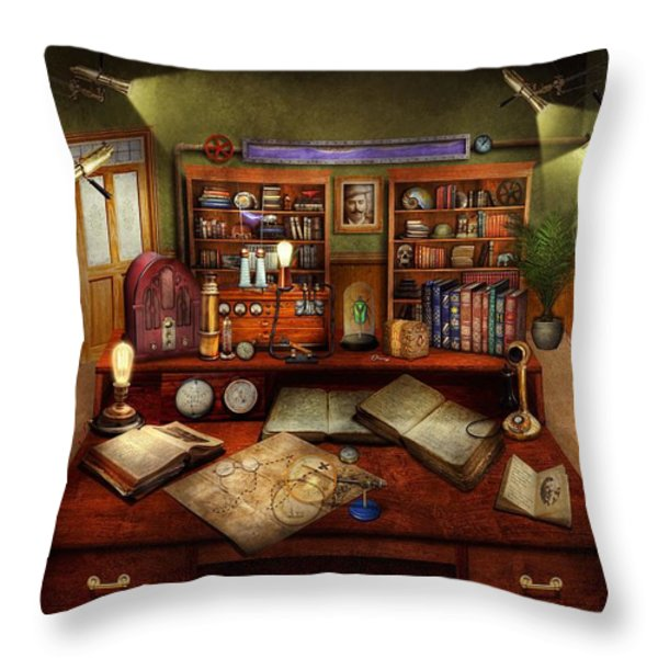 Steampunk - My Busy Study Throw Pillow by Mike Savad