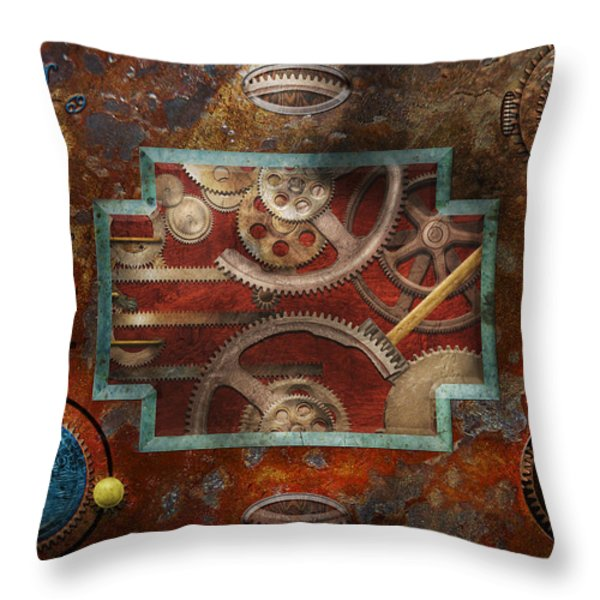 Steampunk - Pandora's box Throw Pillow by Mike Savad