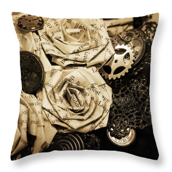 Steampunk Paper Roses Will Never Fade Throw Pillow by Lisa Knechtel