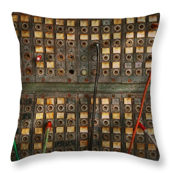 Steampunk - Phones - The Old Switch Board Throw Pillow by Mike Savad