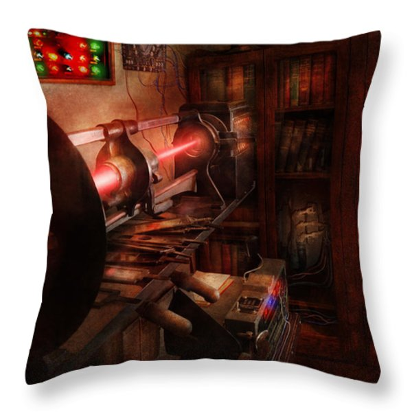 Steampunk - Photonic Experimentation Throw Pillow by Mike Savad