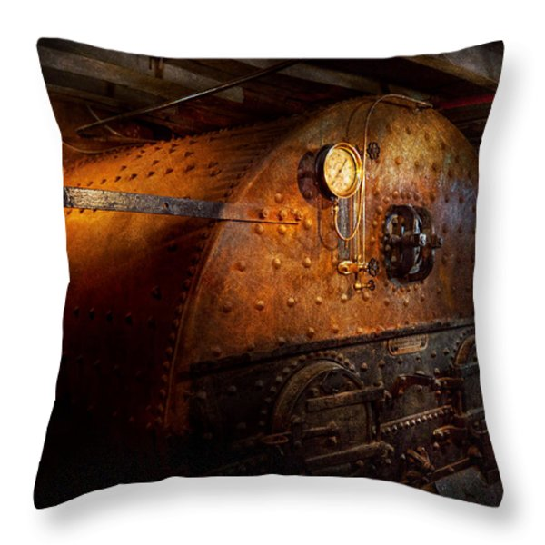 Steampunk - Plumbing - The Home Of A Stoker Throw Pillow by Mike Savad