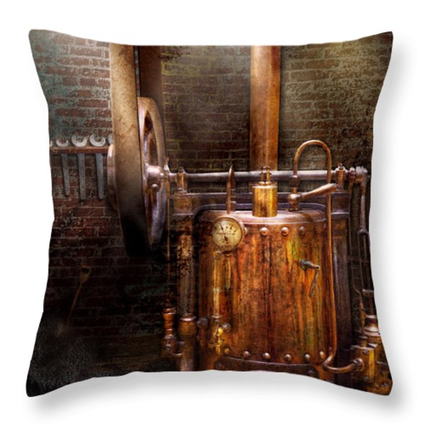 Steampunk - Powering The Modern Home Throw Pillow by Mike Savad