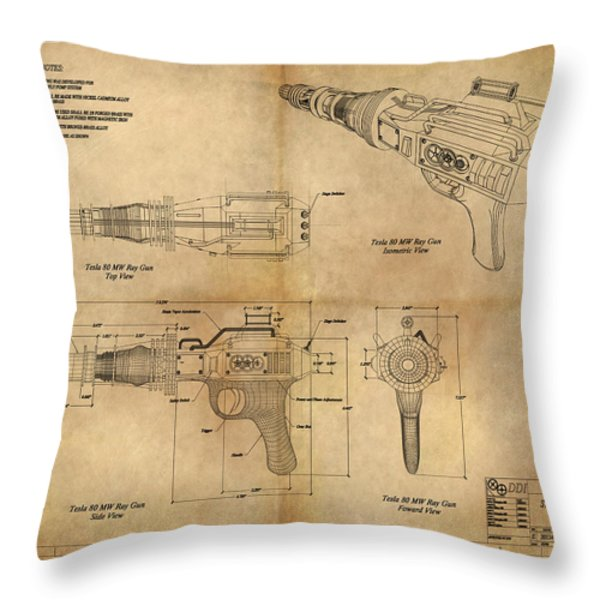 Steampunk Raygun Throw Pillow by James Christopher Hill