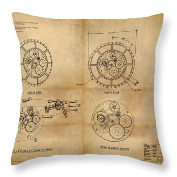 Steampunk Solar Disk Throw Pillow by James Christopher Hill