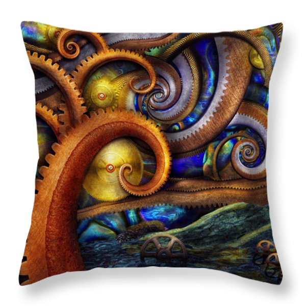 Steampunk - Starry night Throw Pillow by Mike Savad