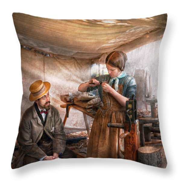 Steampunk - The Apprentice Throw Pillow by Mike Savad