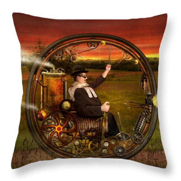 Steampunk - The Gentleman's Monowheel Throw Pillow by Mike Savad