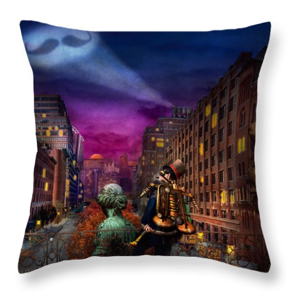 Steampunk - The Great Mustachio Throw Pillow by Mike Savad