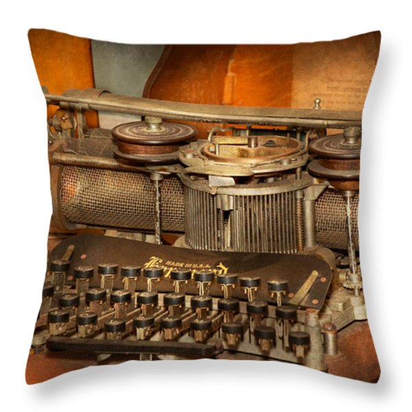 Steampunk - The history of typing Throw Pillow by Mike Savad