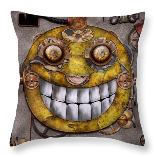 Steampunk - The joy of technology Throw Pillow by Mike Savad