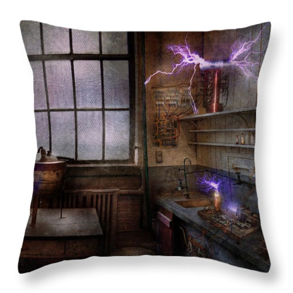 Steampunk - The Mad Scientist Throw Pillow by Mike Savad