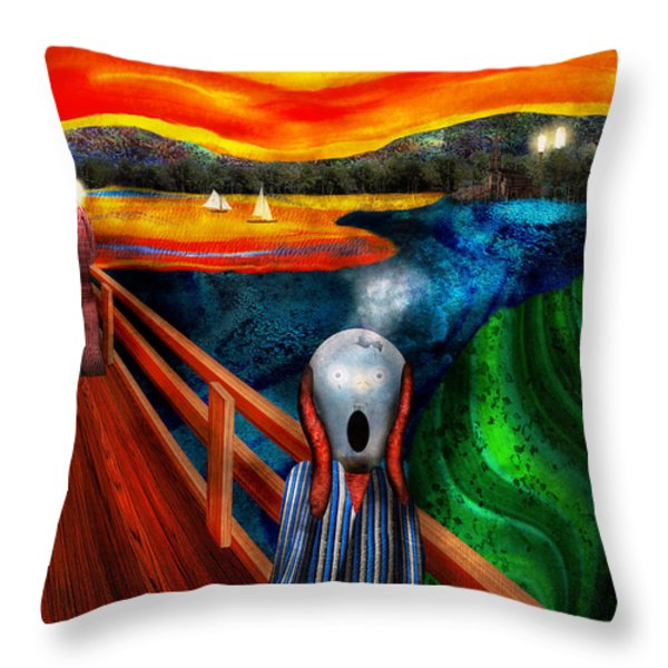 Steampunk - The scream Throw Pillow by Mike Savad