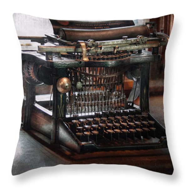Steampunk - Typewriter - A Really Old Typewriter Throw Pillow by Mike Savad