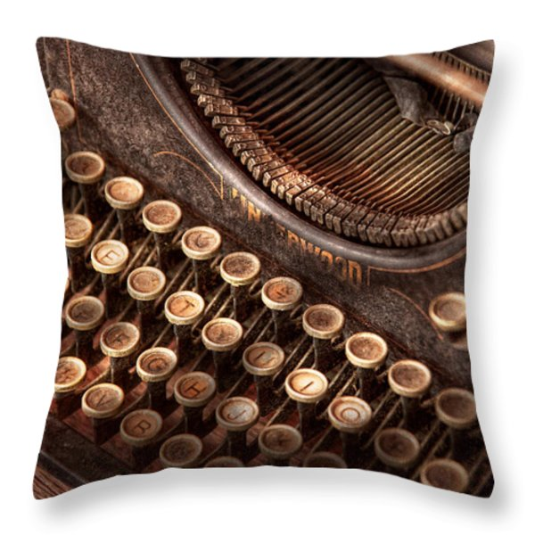 Steampunk - Typewriter - Too tuckered to type Throw Pillow by Mike Savad