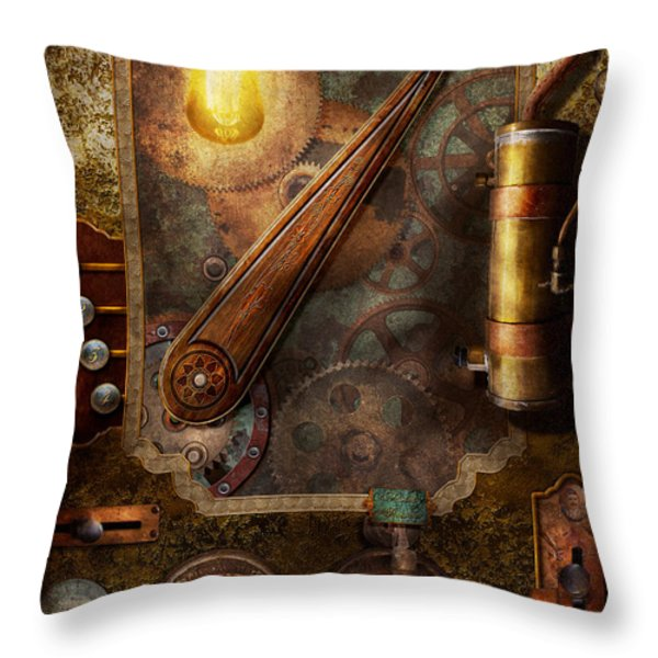 Steampunk - Victorian Fuse Box Throw Pillow by Mike Savad
