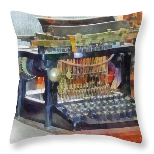 Steampunk - Vintage Typewriter Throw Pillow by Susan Savad