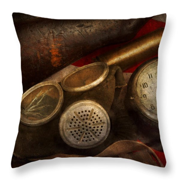Steampunk - War - Remembering The War Throw Pillow by Mike Savad