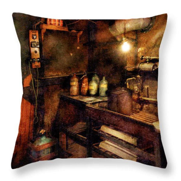 Steampunk - Where experiments are done Throw Pillow by Mike Savad
