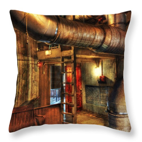 SteamPunk - Where the pipes go Throw Pillow by Mike Savad