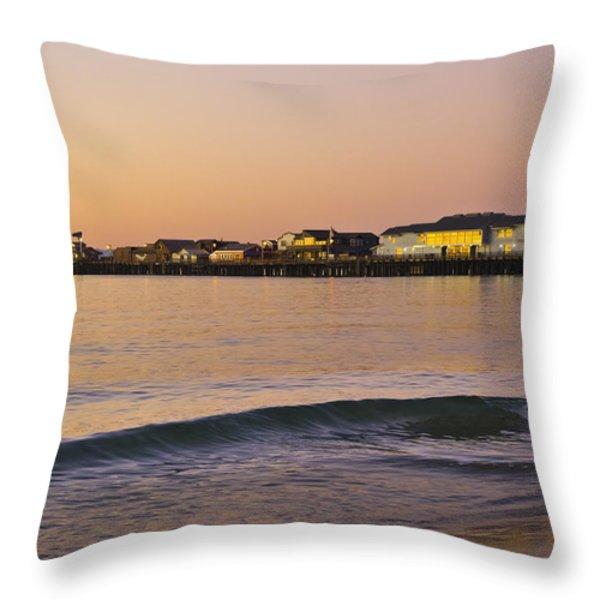 Stearns Wharf At Dawn Throw Pillow by Priya Ghose